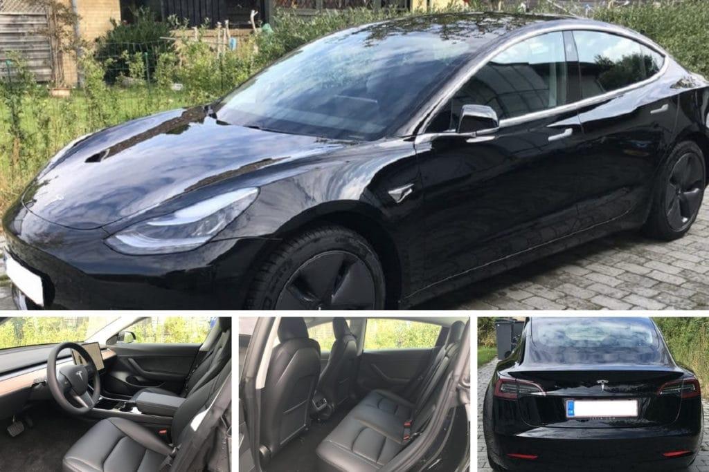 Billede af tesla model 3, både indefra og bilens udseende